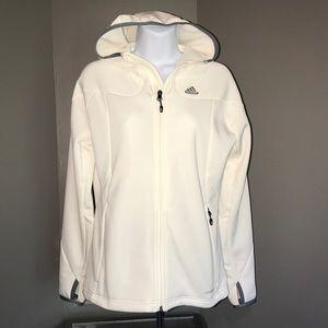 Women's Adidas Hooded Athletic Jacket Cream